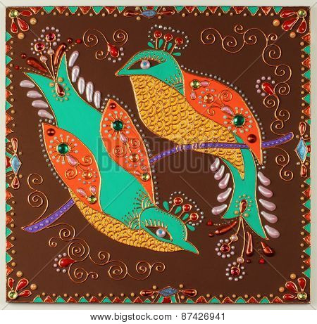 authentic original handmade craftwork painting of bird
