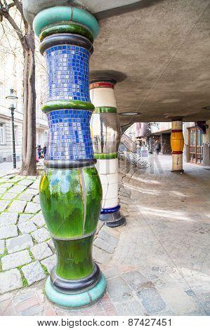 The details of Hundertwasser house in Vienna, Austria