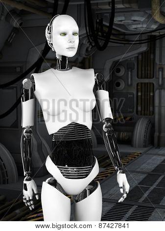 Robot Woman In Sci Fi Corridor.