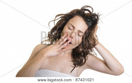 Exhausted Or Bored Woman In Yawn.young Woman Yawning With Her Hand To Her Mouth And Closed Eyes, Iso