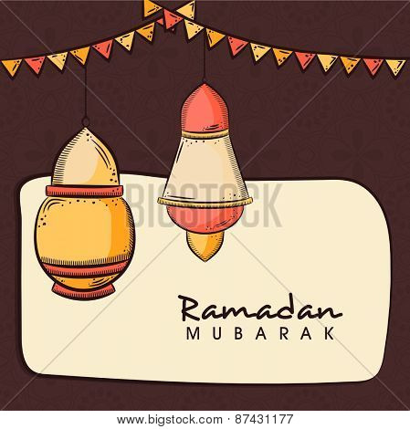 Hanging arabic lanterns on brown and beige background for celebrations of Islamic holy month of prayers, Ramadan Mubarak.
