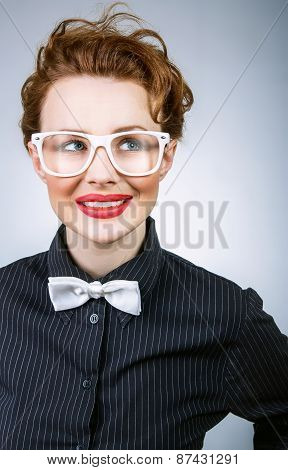 Portrait Of Smile Expressive Stylish Woman Thinking And Looking, Close Up