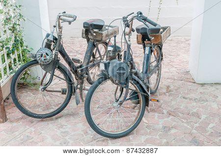 Two Vintage Motorised Bicycles