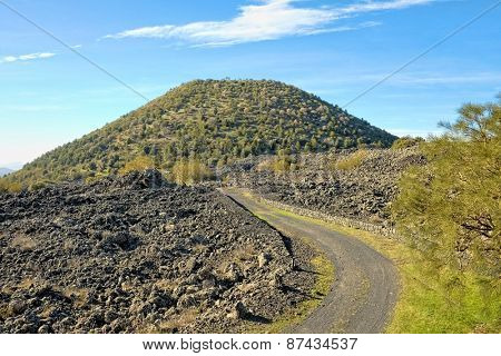 dirt path to Mount Ruvolo in Etna National Park, Sicily