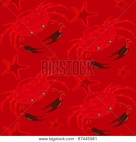 seamless pattern.red Crab.