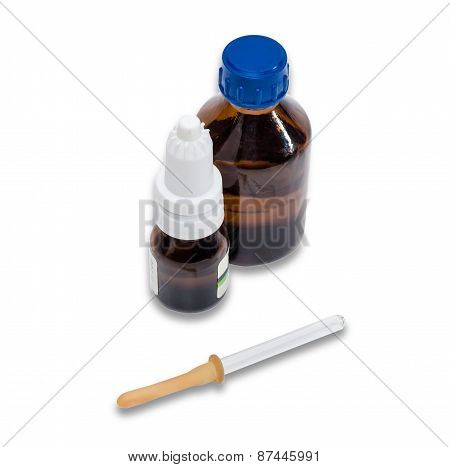 Pipette And Bottle With Medicines.