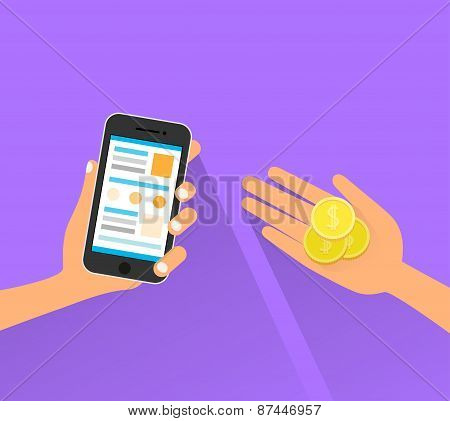mobile payment cell smart phone technology hands with coins