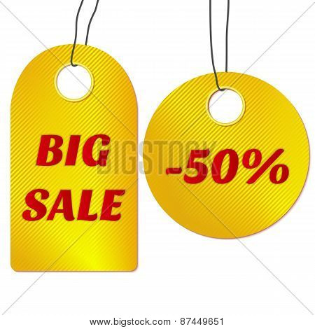 Sale tags or labels. Vector illustration.