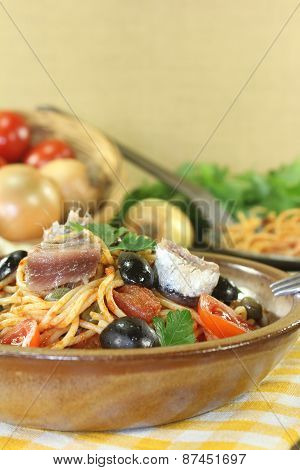 Spaghetti Alla Puttanesca With Capers And Anchovies