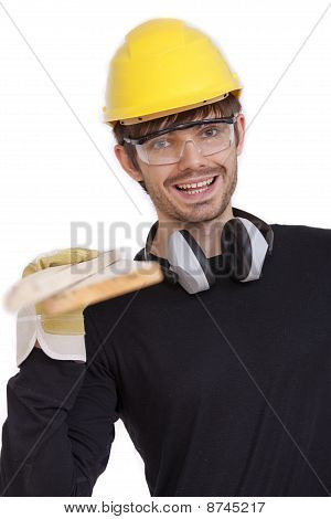 Happy Worker With Wood