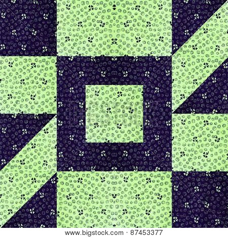 Quilt pattern in navy and green