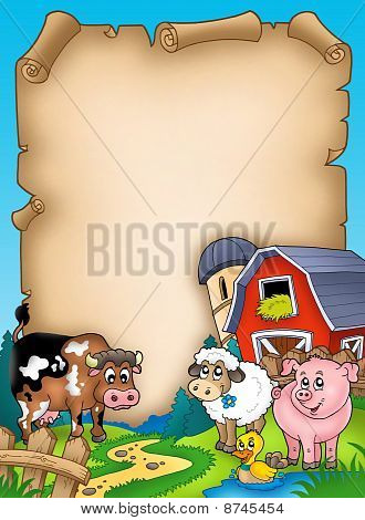 Parchment With Barn And Animals
