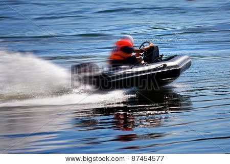 Rushing Boat During The Race