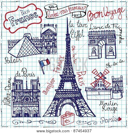 Set of Paris landmark,lettering.Doodle sketchy notepaper