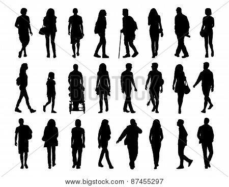 Big Set Of People Walking Silhouettes Set 1