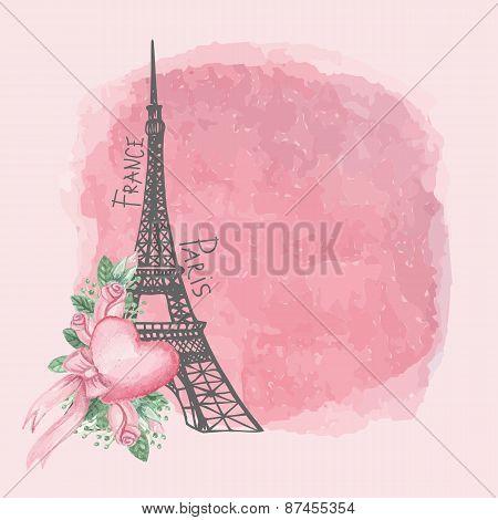 Paris vintage card.Eiffel tower,Watercolor pink rose,spot