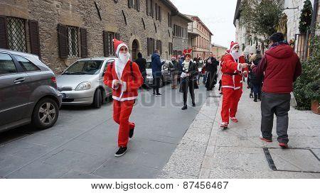 People Dress As Santa Play In Milan, Italy