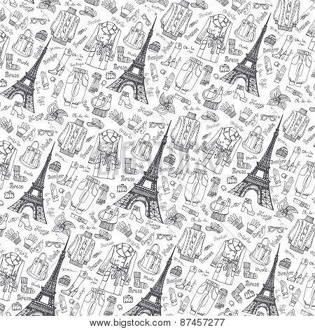 Paris Fashion.Clothing pattern background.Doodle sketchy