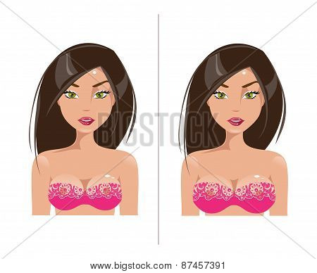 Woman With Small And Large Breast Size. Vector Illustration
