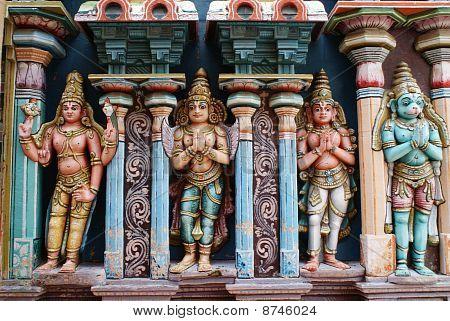 Four idols of Indian gods (Hanuman, Rama, Garuda,Vishnu)in a vaishnava Temple in Trichy/Srirangam poster