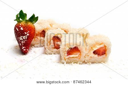 Sweet Sushi With Coconut, Strawberries And Cheese