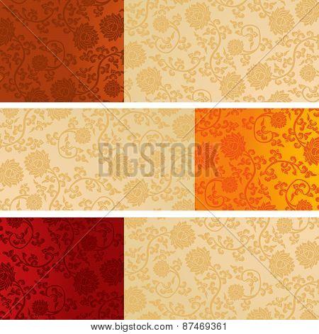 Set Of Chinese Lotus Pattern Horizontal Banners