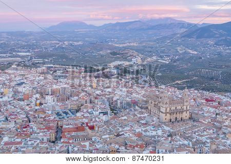 aerial view of Assumption of the virgin Cathedral with sunset at background in Jaen Andalusia Spain poster