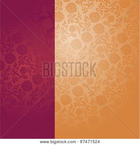 Purple and cream Chinese lotus pattern