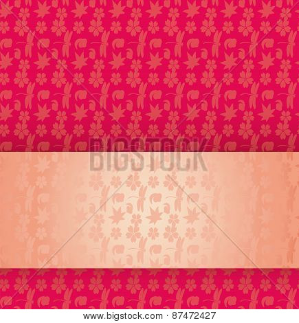 Pink Japanese pattern with banner