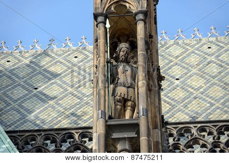 Sculpture In Pinnacle Of Buttress Of Cathedral St. Vitus, Prague.