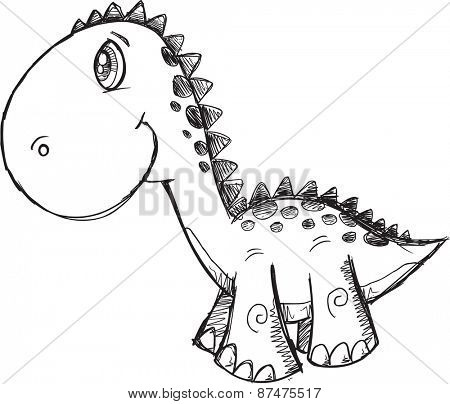 Sketch Doodle Dinosaur Vector Illustration Art