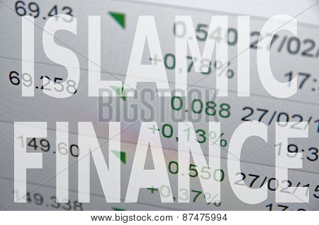 Inscription Islamic finance on PC screen. Financial data on background. poster
