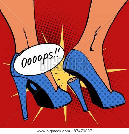 oops broke heel woman nasty surprise pop art comics retro style
