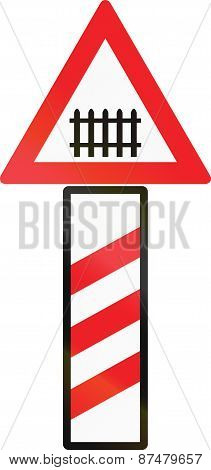 Guarded Level Crossing Countdown Marker In Austria