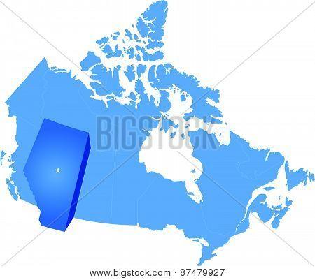 Map Of Canada - Alberta Province