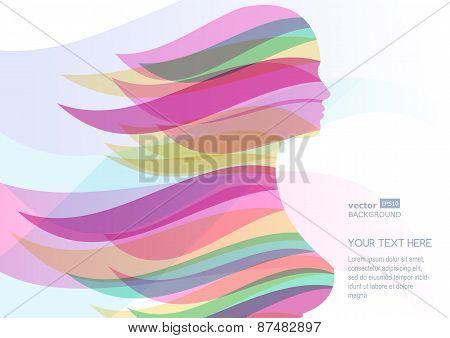 Beautiful Girl Silhouette With Colorful Streaming Hair. Vector Abstract Background. Design Concept F