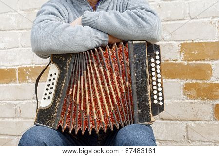 accordion on the man's knee, brick wall background poster