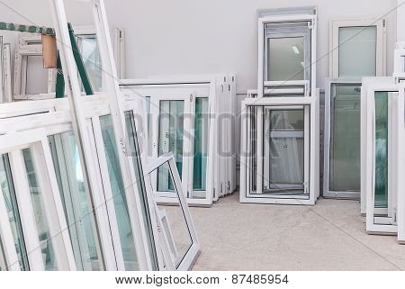 Set Of Pvc Windows In A Factory Interrior