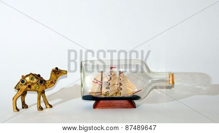 Camel after sailing ship collage .