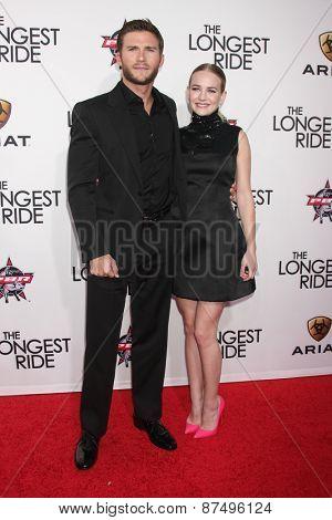 LOS ANGELES - FEB 6:  Scott Eastwood, Britt Robertson at the