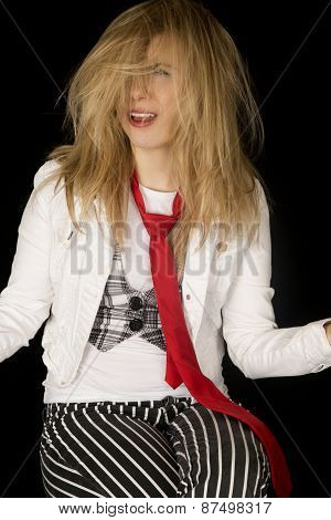 Questioning Blond Woman With Messy Hair Sitting Down