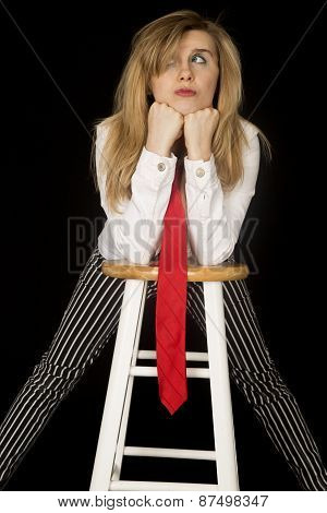 Playful Expression Female Leaning On Her Bar Stool