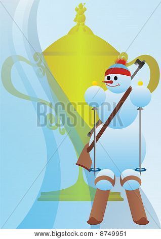 Winter sport. Snowman athlete. Snowman with the prize cup biathlon. poster
