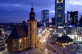 downdown frankfurt germany at dusk from above poster