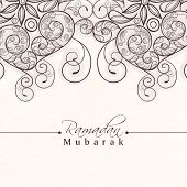 Beautiful floral decorated greeting card for holy month of muslim community, Ramadan Kareem celebration. poster