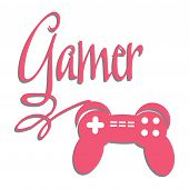 Game console controller connected to the word gamer. Gaming theme poster