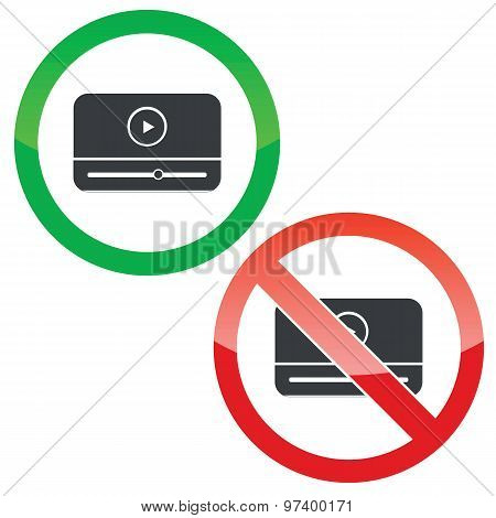 Mediaplayer permission signs set