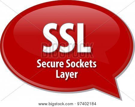 Speech bubble illustration of information technology acronym abbreviation term definition SSL Secure Sockets Layer