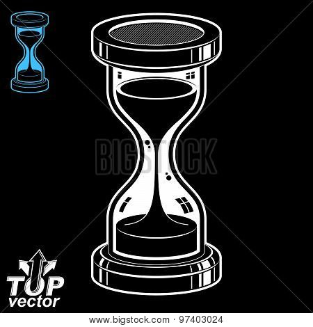 Eps8 highly detailed vector sand-glass illustration. Antique classic hourglass. Retro clock