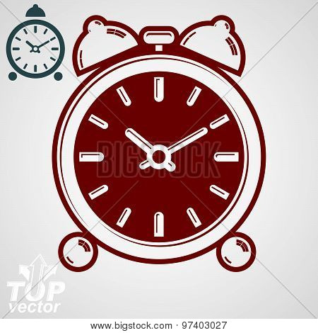 Vector 3d alarm clock with two symmetric bells. Wake up conceptual icon, additional version included. Graphic design element. Simple retro timer with clang bells. poster